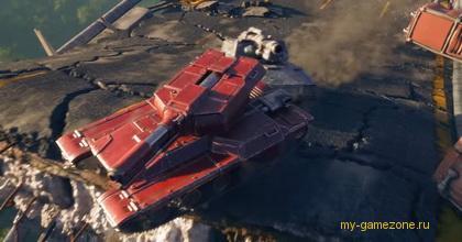 красный танк на мосту