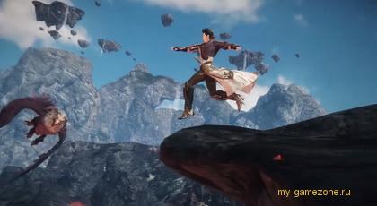 Прыжок со скалы персонажа