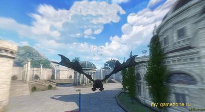полет дракона среди города