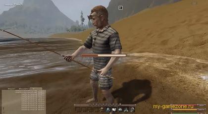 персонаж ловит рыбу в озере