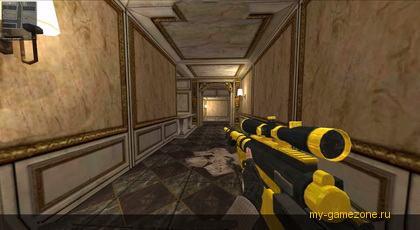 боец в коридоре с винтовкой