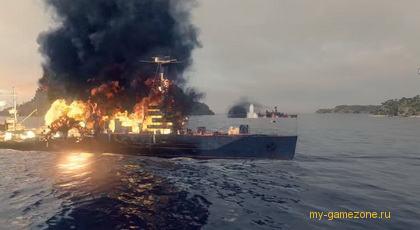 тушение пожара на корабле